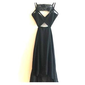 Sexy cutout high-low black dress